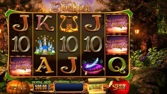Wish Upon a Jackpot :: Main game board featuring five reels and 20 paylines with a $25,000.00 max payout