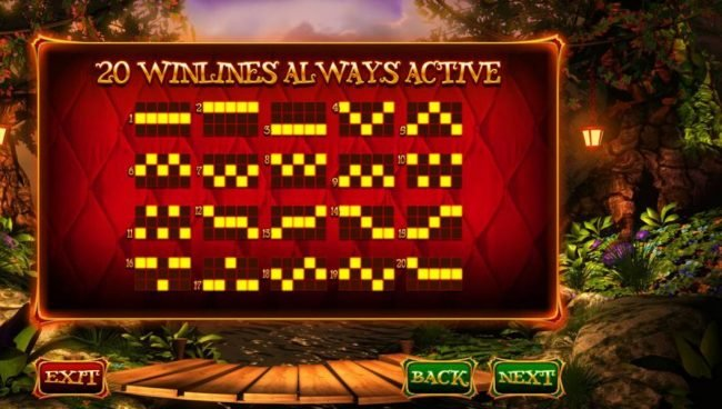 Wish Upon a Jackpot :: Payline Diagrams 1-20 - 20 Winlines always active.