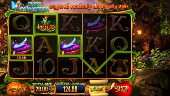 Wish Upon a Jackpot :: A pair of winning paylines triggers a 124.00 big win.