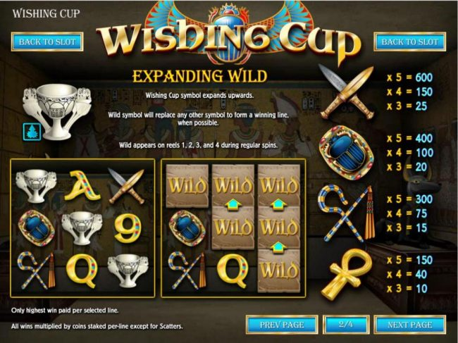 Expanding Wild - Wishing Cup expands upwards, Wild will replace any other symbol to form a winning line, when possible. Wild appears on reels 1, 2 , 3 and 4 during regular games.