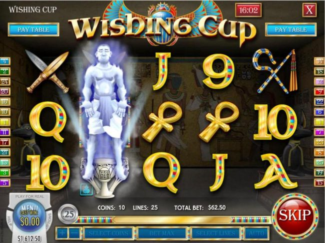 Wishing Cup wild axpanded to cover 2nd reel.