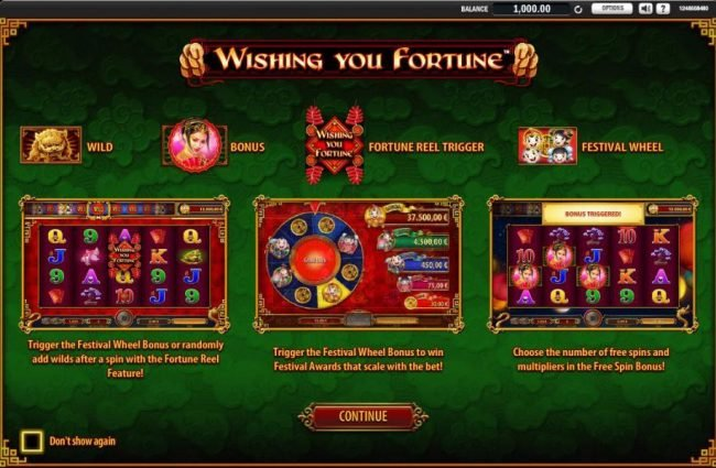 Wishing You Fortune :: game features include Wild, Bonus, Fortune Wheel trigger and Festival Wheel.