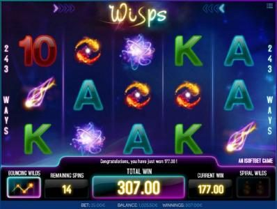 Joe Fortune featuring the Video Slots Wisps with a maximum payout of $1,000