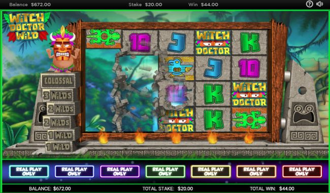 VegasMobile featuring the Video Slots Witch Doctor Wild with a maximum payout of $250,000