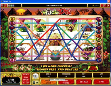 Vegas Joker featuring the Video Slots Witch Dr with a maximum payout of $50,000