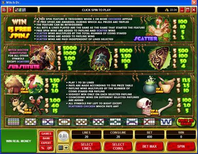 CasinoUK featuring the Video Slots Witch Dr with a maximum payout of $50,000