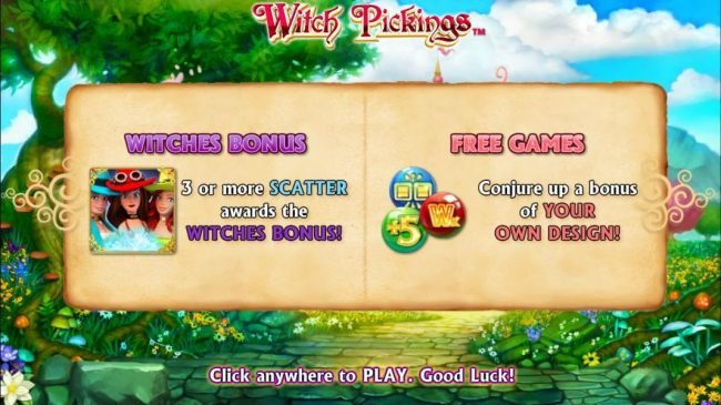 features include Witches Bonus, 3 or more scatter awards Witches Bonus! Free Games, conjure up a bonus of your on dreams.