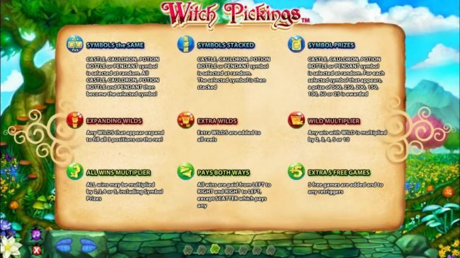 Witches Bonus symbols and what they provide during the free spins. You can select 1 item from each witch during the Witches Bonus round. The selected options will be sued during the free games and the possibilities to win big are within reach.