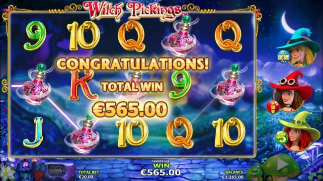 The Witches Bonus feature pays out a total of 565.00 for a super win!