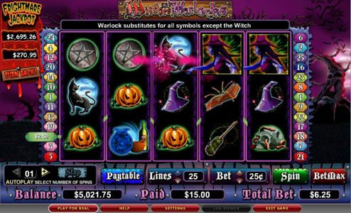 Malina featuring the video-Slots Witches and Warlocks with a maximum payout of 5,000x