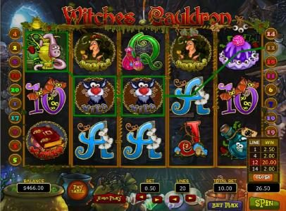 Play slots at Slots Village: Slots Village featuring the Video Slots Witches Cauldron with a maximum payout of $75,000