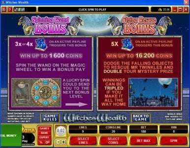 UK Casino Club featuring the Video Slots Witches Wealth with a maximum payout of $60,000