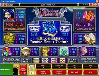 Play slots at All Irish: All Irish featuring the Video Slots Witches Wealth with a maximum payout of $60,000