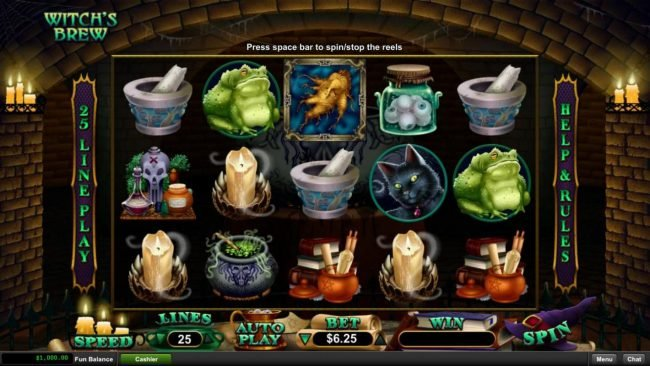 Play slots at Slots Empire: Slots Empire featuring the Video Slots Witch's Brew with a maximum payout of $12,500