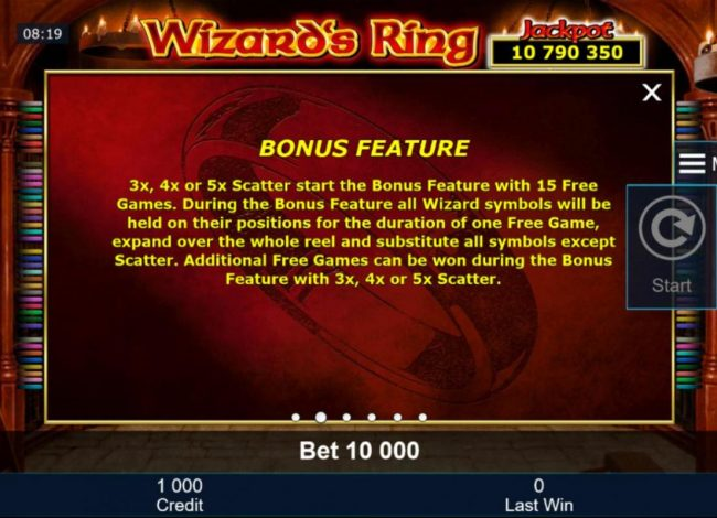 Quasar featuring the Video Slots Wizard's Ring with a maximum payout of Jackpot