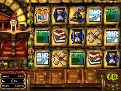 Rockbet featuring the Video Slots Wizard's Castle with a maximum payout of $10,000