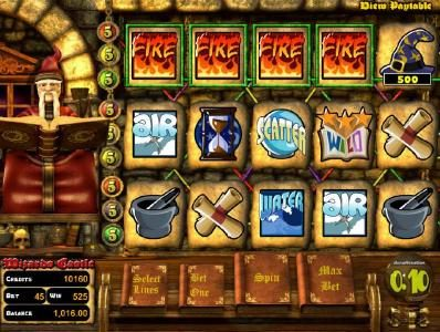 Wizard's Castle :: four of kind triggers a 500 coin Big Win