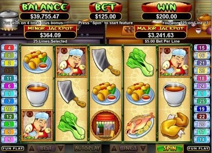 Slotsville featuring the Video Slots Wok & Roll with a maximum payout of $250,000