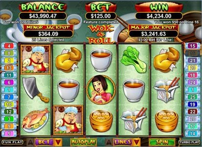 Fair Go featuring the Video Slots Wok & Roll with a maximum payout of $250,000
