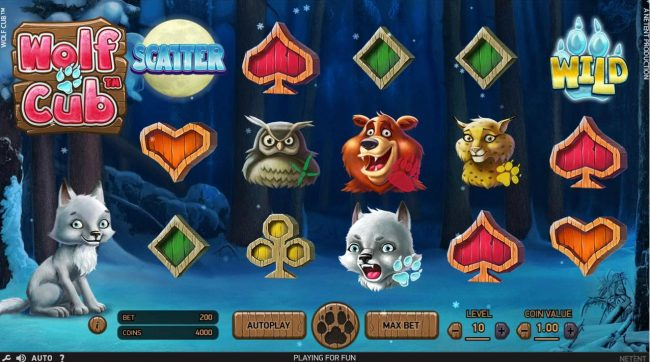 Play slots at Powerspins: Powerspins featuring the Video Slots Wolf Cub with a maximum payout of $4,000,000