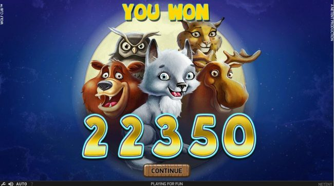 Touch Lucky featuring the Video Slots Wolf Cub with a maximum payout of $4,000,000