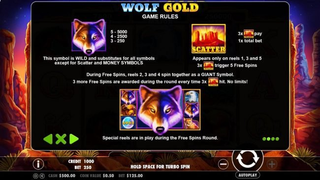 Wolf is the wild symbol and substitutes for all symbols except scatter and money symbols. Scatter appears on reels 1, 3 and 5, 3x scatters trigger 5 free spins.