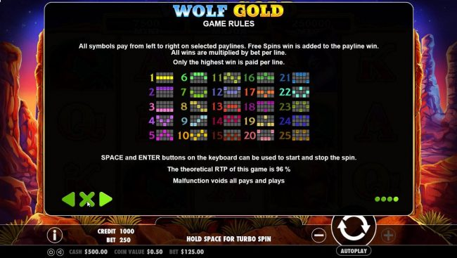 TheBesCasino featuring the Video Slots Wolf Gold with a maximum payout of $30,000