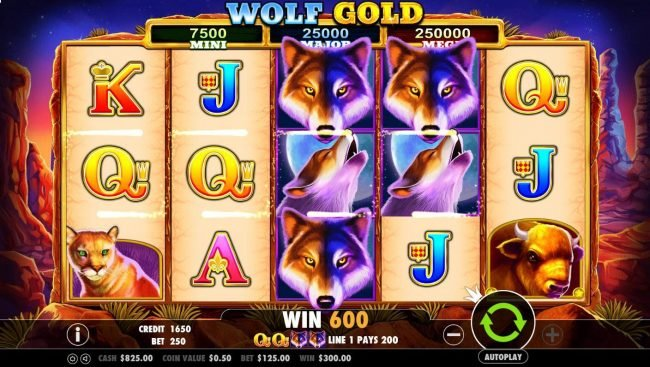 Stacked wolf wild symbols trigger multiple winning paylines awarding player with a 600 coin jackpot.