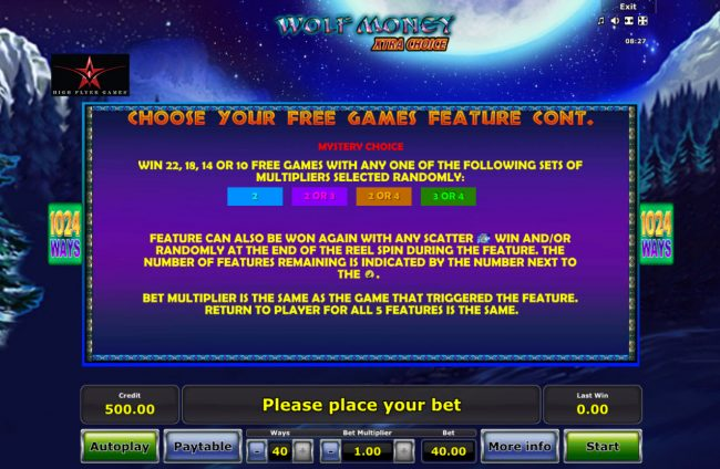 Quasar featuring the Video Slots Wolf Money Extra Choice with a maximum payout of $20,000