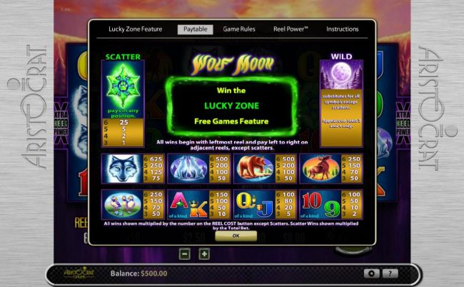 EU Casino featuring the Video Slots Wolf Moon with a maximum payout of $78,125