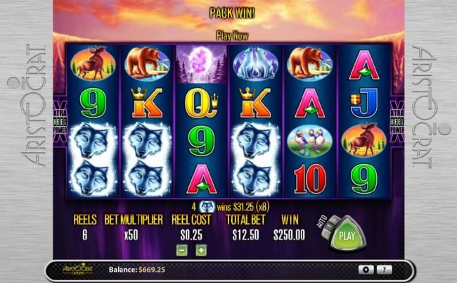 Fruity Casa featuring the Video Slots Wolf Moon with a maximum payout of $78,125