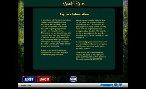 Caesars featuring the Video Slots Wolf Run with a maximum payout of $250,000