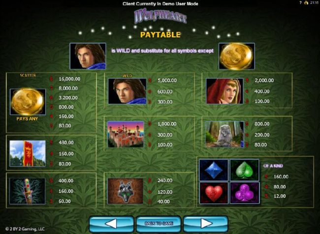 Rose Slots featuring the Video Slots Wolfheart with a maximum payout of $16,000