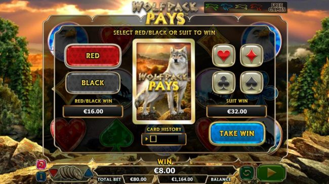 Wolfpack Pays :: Gamble Feature is available after any winning spins. Select Red/Black or Suit to win.