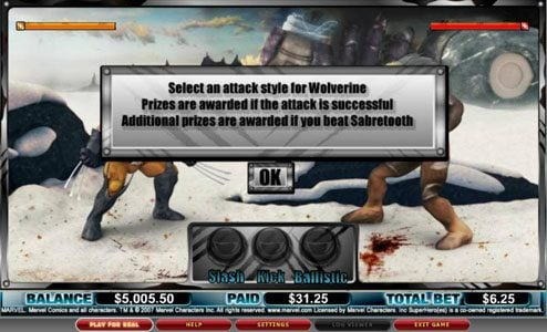 Joker Casino featuring the video-Slots Wolverine with a maximum payout of 3,000x
