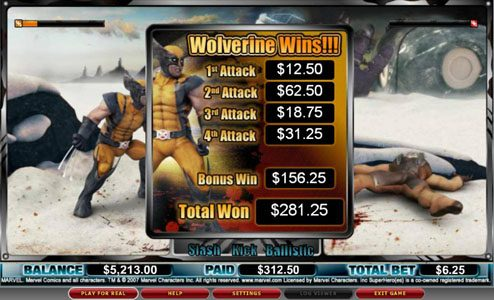 Hyper Casino featuring the video-Slots Wolverine with a maximum payout of 3,000x