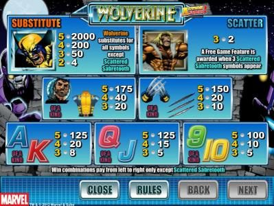 Play slots at Fruity Vegas: Fruity Vegas featuring the Video Slots Wolverine Action Stacks with a maximum payout of 2000x