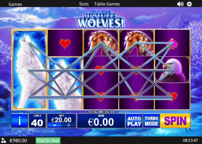 Giant Vegas featuring the Video Slots Wolves! with a maximum payout of $37,500