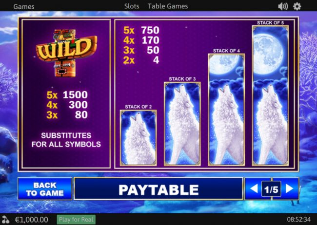 LesA Casino featuring the Video Slots Wolves! with a maximum payout of $37,500