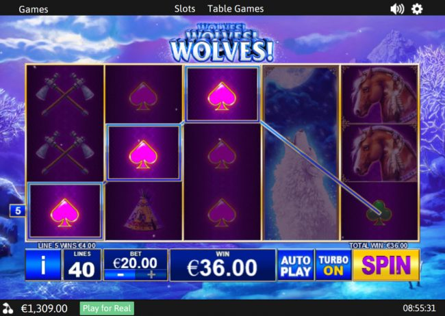 Casino.DK featuring the Video Slots Wolves! with a maximum payout of $37,500