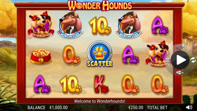 DruckGluck featuring the Video Slots Wonder Hounds with a maximum payout of $100,000