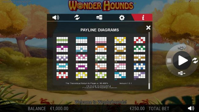 Split Aces featuring the Video Slots Wonder Hounds with a maximum payout of $100,000