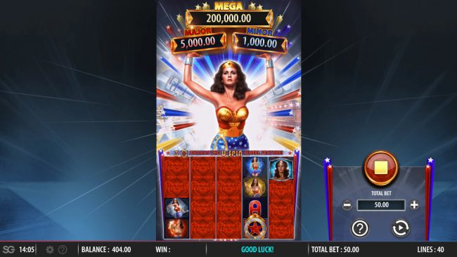 Slots Magic featuring the Video Slots Wonder Woman Bullets and Bracelets with a maximum payout of $250,000