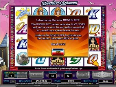 Betchan featuring the Video Slots Wonder Woman with a maximum payout of $200,000