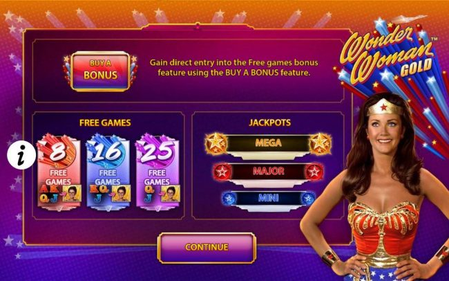 Game features include: Buy a Bonus - Gain direct entry into the Free Games Bonus feature using the Buy A Bonus feature. Free Games and Jackpots.