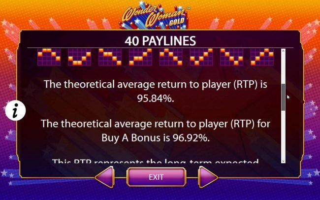The theoretical return to player (RTP) for this game is 95.84% to 96.92%. Any combination of wins in a single game is limited and will not exceed 250,000.00