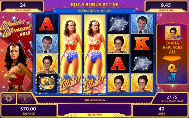 Leo Vegas featuring the Video Slots Wonder Woman Gold with a maximum payout of $250,000