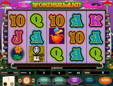 Wonderland :: main game board featuring five reels and 9 paylines