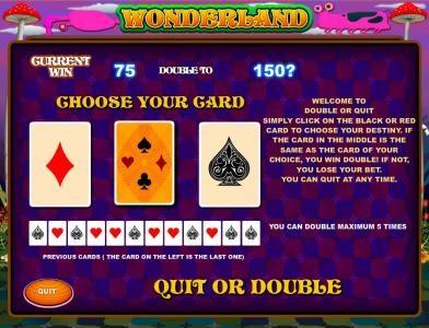 Wonderland :: gamble feature game board