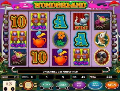 Wonderland :: three scatter symbols triggers a 225 coin payout